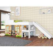 Cama Infantil 90 com Escorregador e Cortina Playground Branco - Art In Móveis