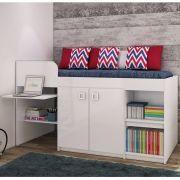 Cama Solteiro Juvenile Multifuncional para colchão 188 x 88 cm Branco -  Art In Móveis