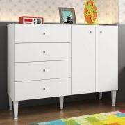 Cômoda Meu Fofinho 4 Gavetas Infantil com 2 Portas Branco - Art In Móveis