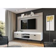 Conjunto Home Theater com Prateleira Setubal Branco - Art In Moveis