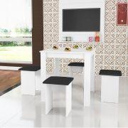 Conjunto Mesa 75 x 75 e Banqueta Estofada Florença Branco - Art In Móveis