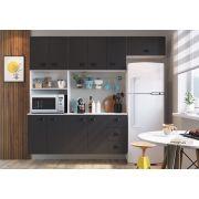 Kit Cozinha com 10 Portas 3 Gavetas Retro Mia Coccina Preto - Art In Moveis