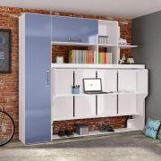 Estação de Dormir Escritório Cama Dreams de Solteiro Multifuncional e Retrátil com Armários Prateleiras Escrivaninha 4 Em 1 Azul - Art In Móveis