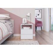 Mesa de Cabeceira com 2 Gavetas e 1 Prateleira Tokio Branco - Art In Móveis