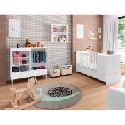 Quarto Infantil Completo Berço Cômoda/Guarda Roupa 2 Nichos Grandes Fofinho Branco - Art In Móveis