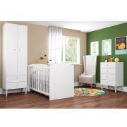 Quarto Infantil Completo Berço Cômoda 4 Gavetas Guarda Roupa 2 Portas 2 Gavetas com Escrivaninha Aconchego Branco - Art In Móveis