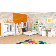 Quarto Infantil Completo Mini Cama Cômoda/Guarda Roupa 1 Mesa 2 Cadeiras Estantes Multiuso 3 Prateleiras Nicho Branco - Art In Móveis