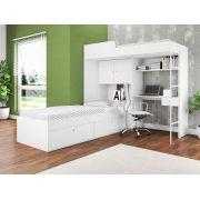Quarto Juvenil 2 Camas Solteiro 80 Armário 2 Portas Escrivaninha Multifuncional Branco - Art In Móveis