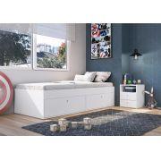 Quarto Juvenil com Cama Solteiro 80 e Mesa de Cabeceira Tókio Branco - Art In Móveis
