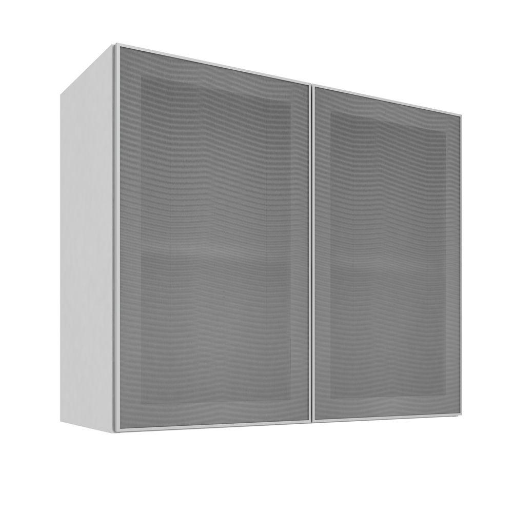 Armário Aéreo com 2 Portas de Vidro 80X66  Branco/Alumínio - Art In Móveis