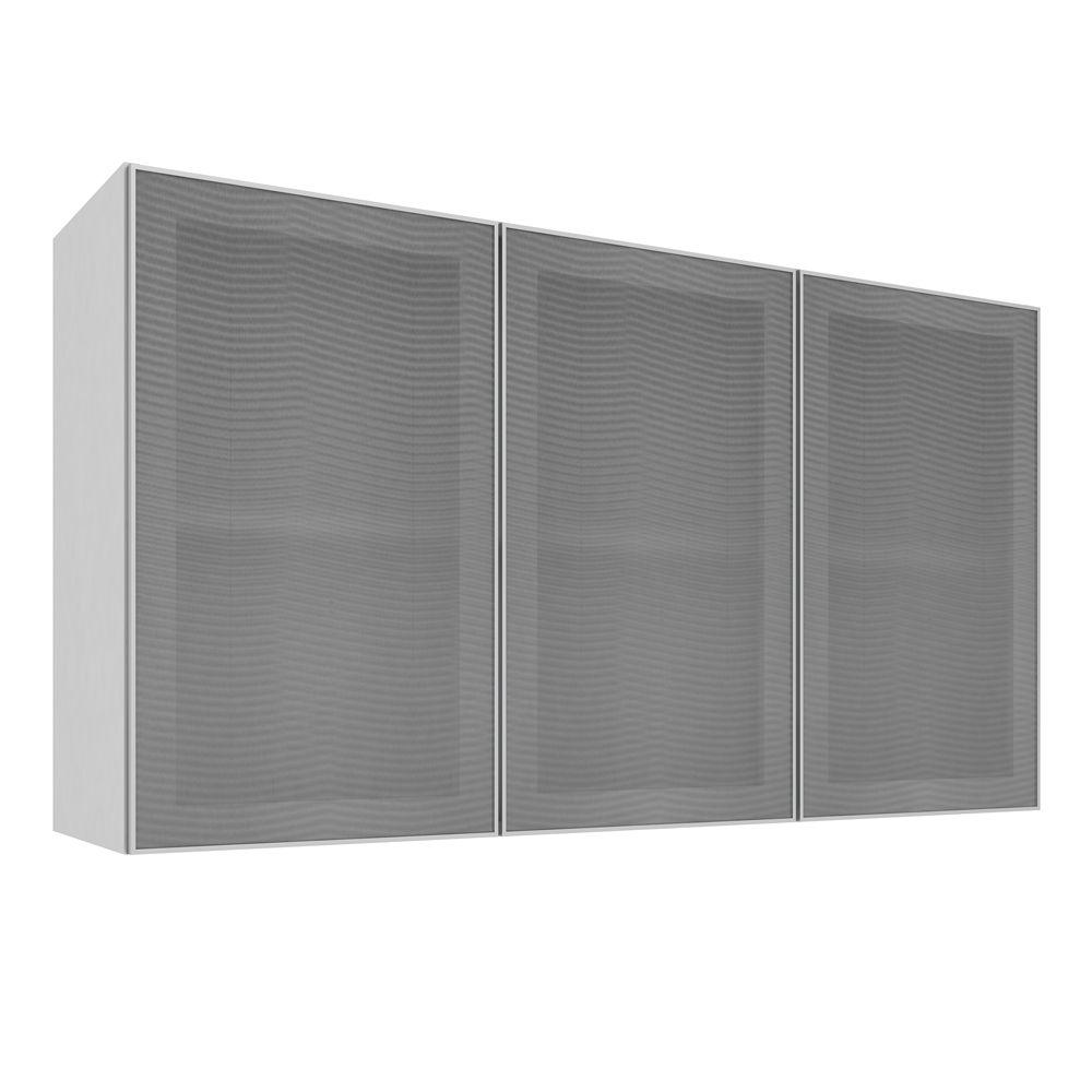 Armário Aéreo com 3 Portas de Vidro 120X66 Branco/Alumínio - Art In Móveis
