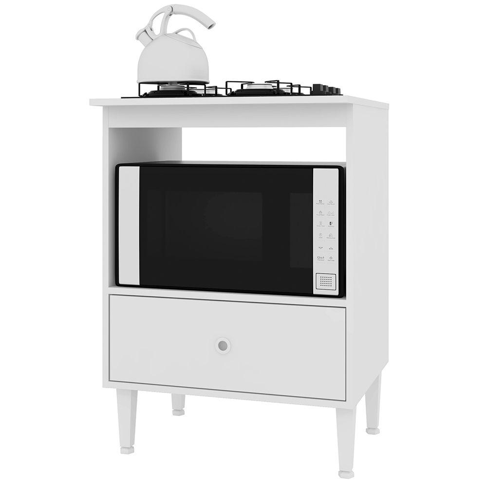 Balcão Dubai Forno e CookTop 4 Bocas 1 Gaveta Branco - Art In Móveis