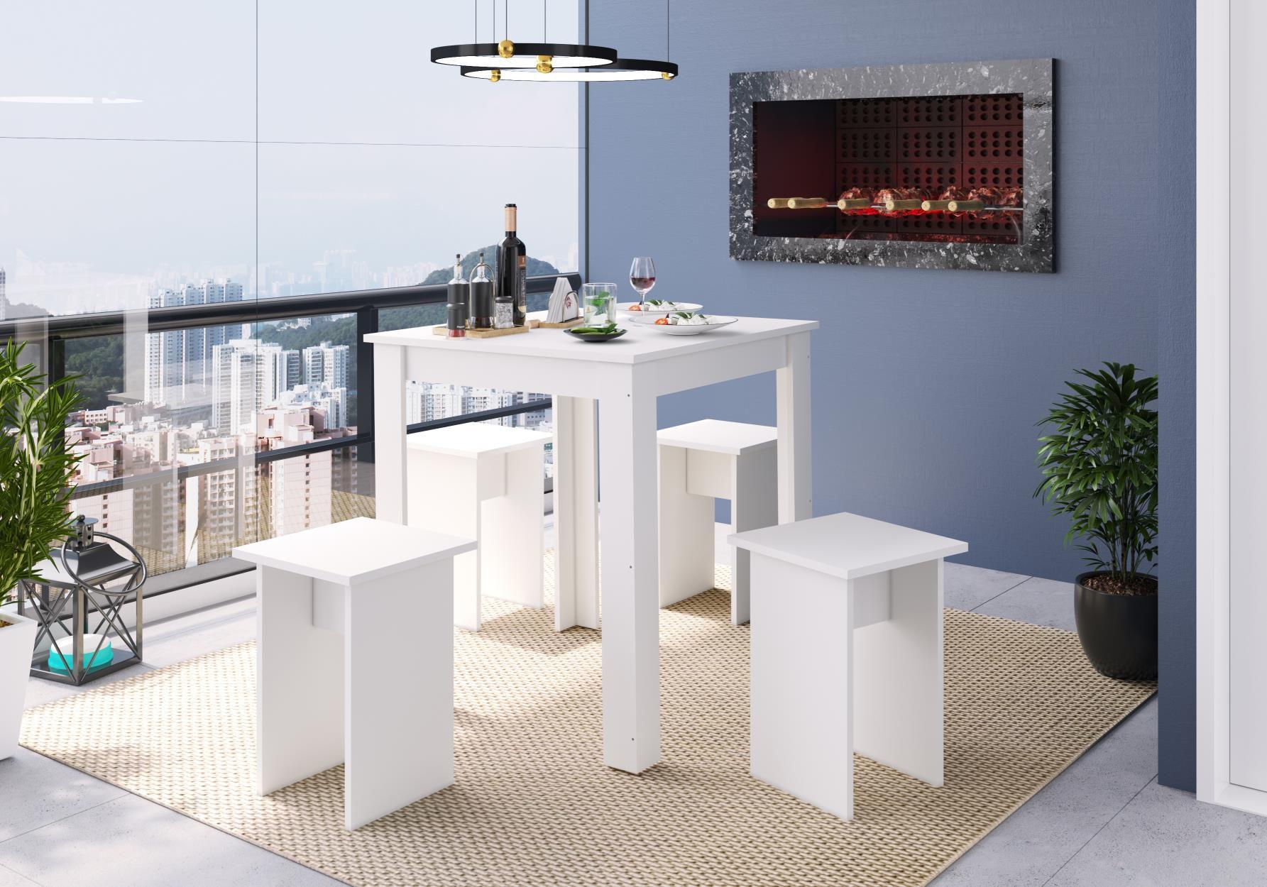 Banqueta 30x30 Amalfi Branco - Art In Móveis
