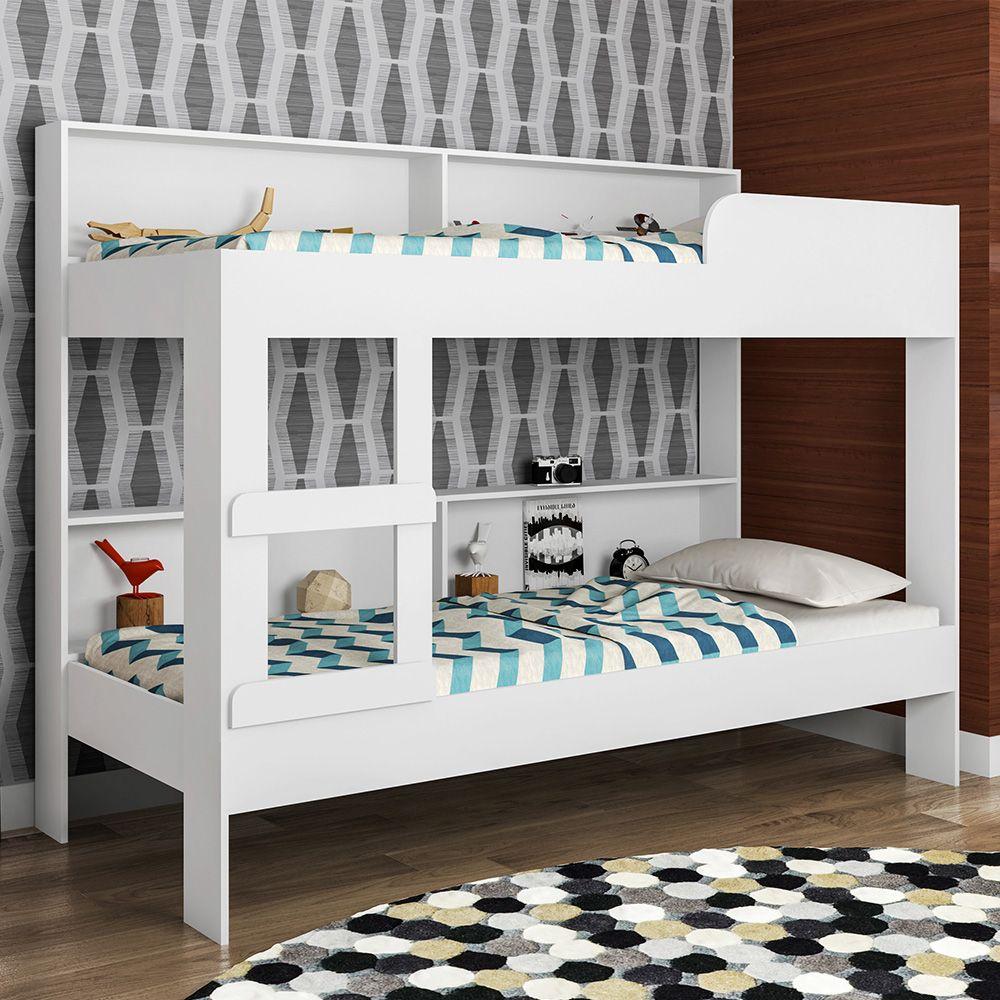 Beliche Miami Com Estante Branco - Art In Móveis