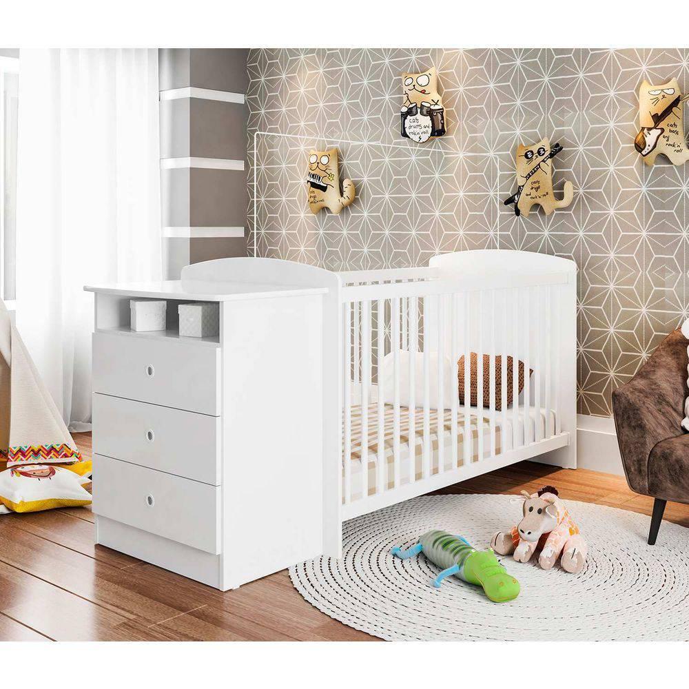 Berço Infantil com Cômoda Encanto Branco - Art In Móveis