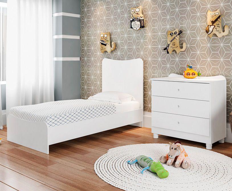 Berço Cama Americano com Comoda Fofura Branco - Art In Móveis