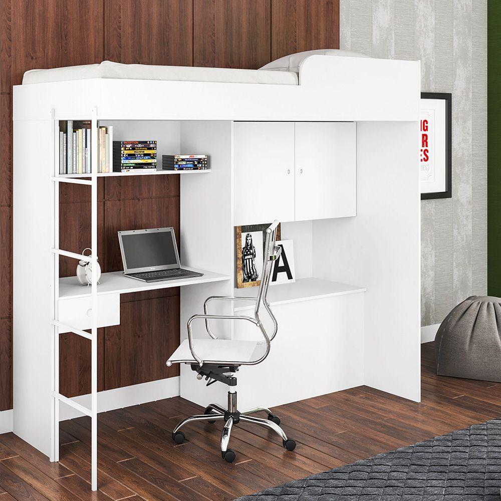 Cama Alta de Solteiro Multifuncional Luiza Branco - Art In Móveis