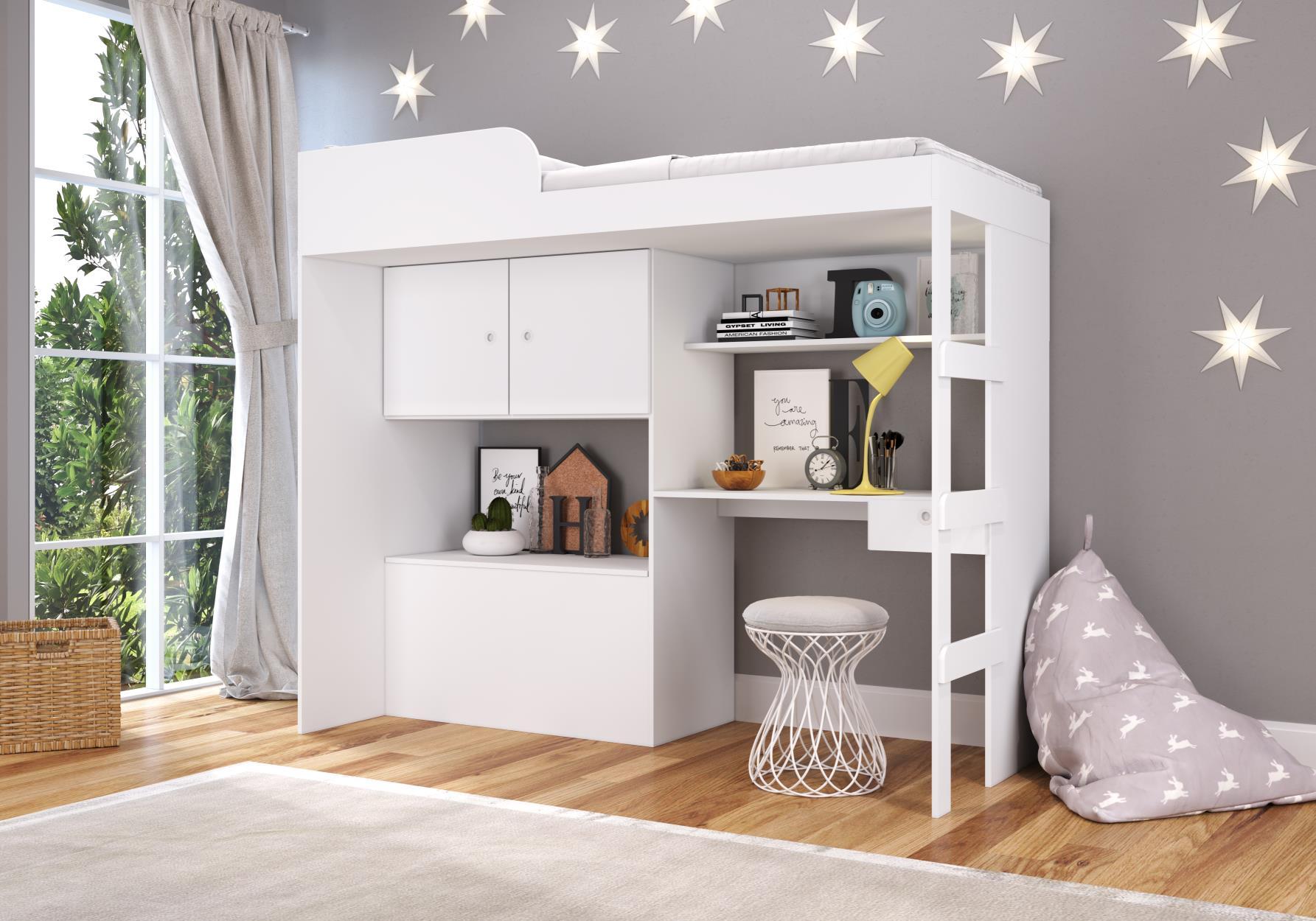Cama Alta 90 Multifuncional com baú e escrivaninha Lion Branco - Art In Móveis