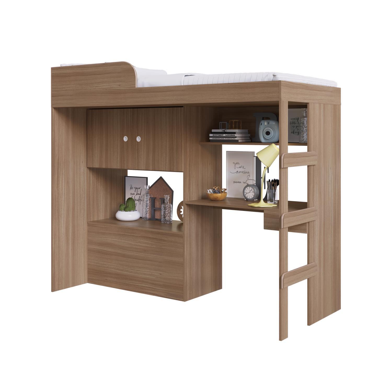 Cama Alta 90 Multifuncional com baú e escrivaninha Lion Montana - Art In Móveis