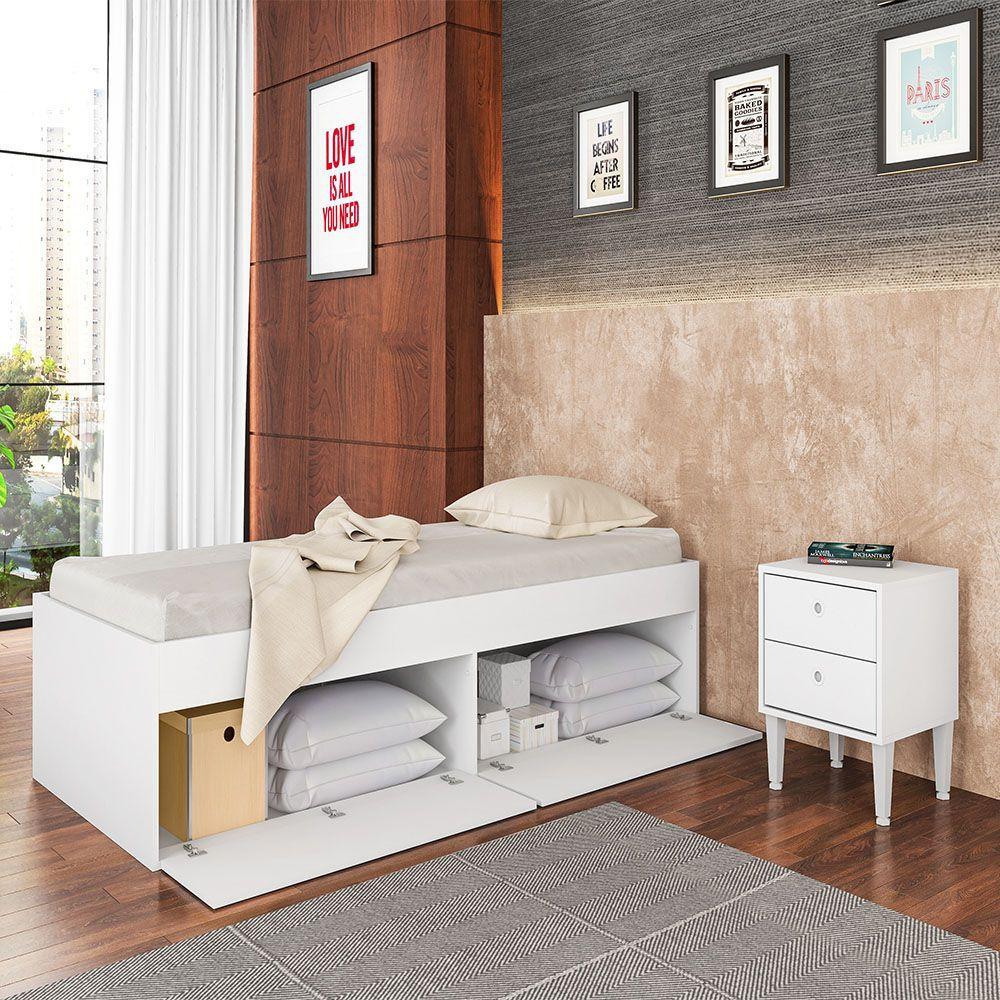 Cama de Solteiro 4 Portas Tókio Branco 90 - Art In Móveis
