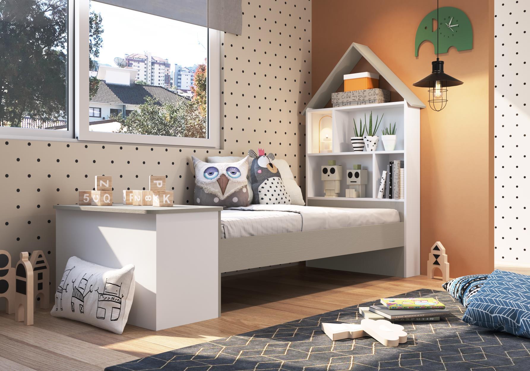 Cama infantil com baú e Estante children´s house Branco - Art In Móveis