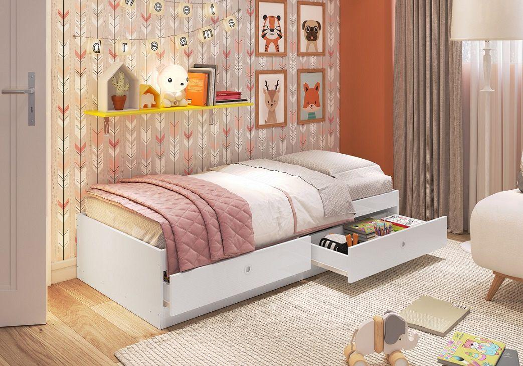 Cama infantil com gavetas carinho Branco - Art In Móveis