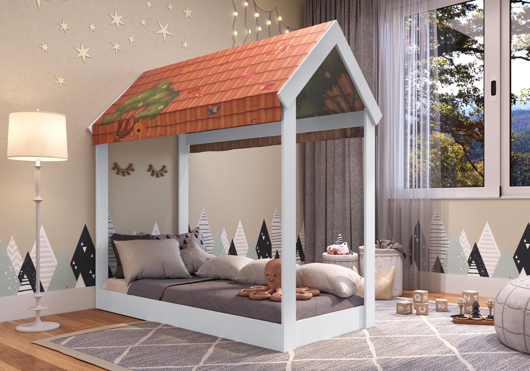 Cama Infantil com Telhado Montessoriano Branco - Art In Móveis