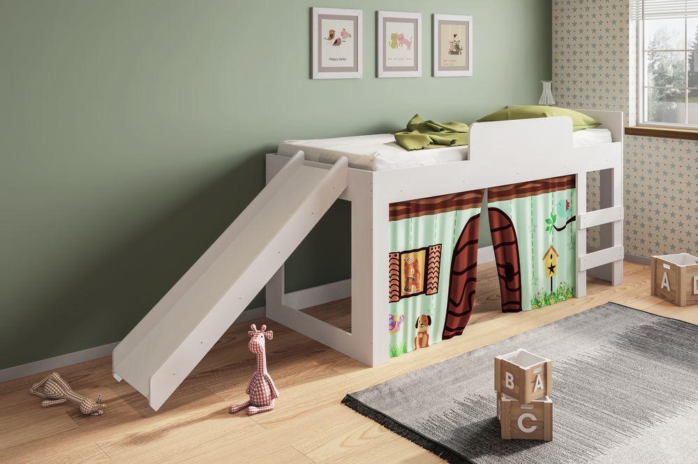 Cama Infantil Diversão com Escorregador Branco - Art In Móveis