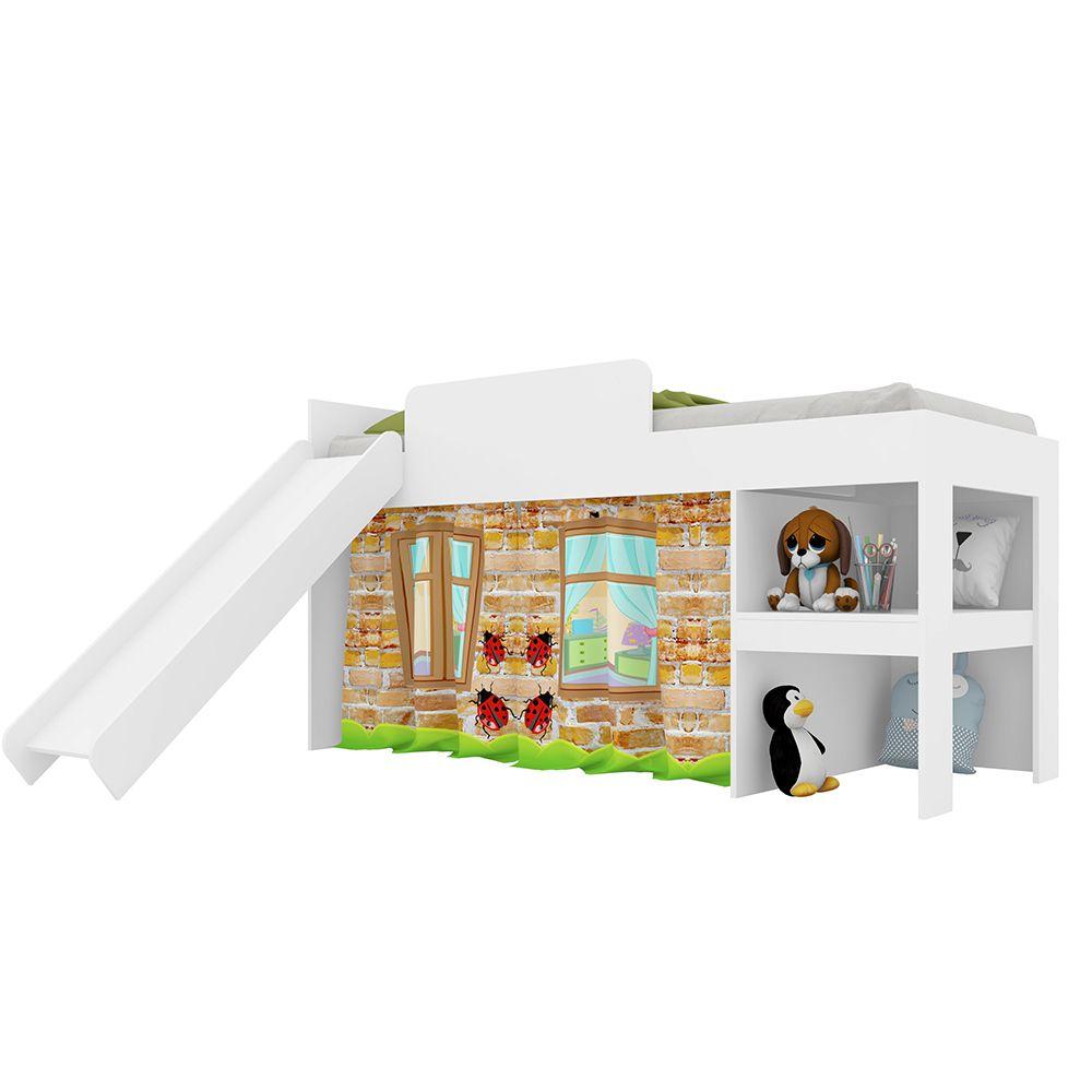 Cama Infantil Playground com Escorregador Branco - Art In Móveis
