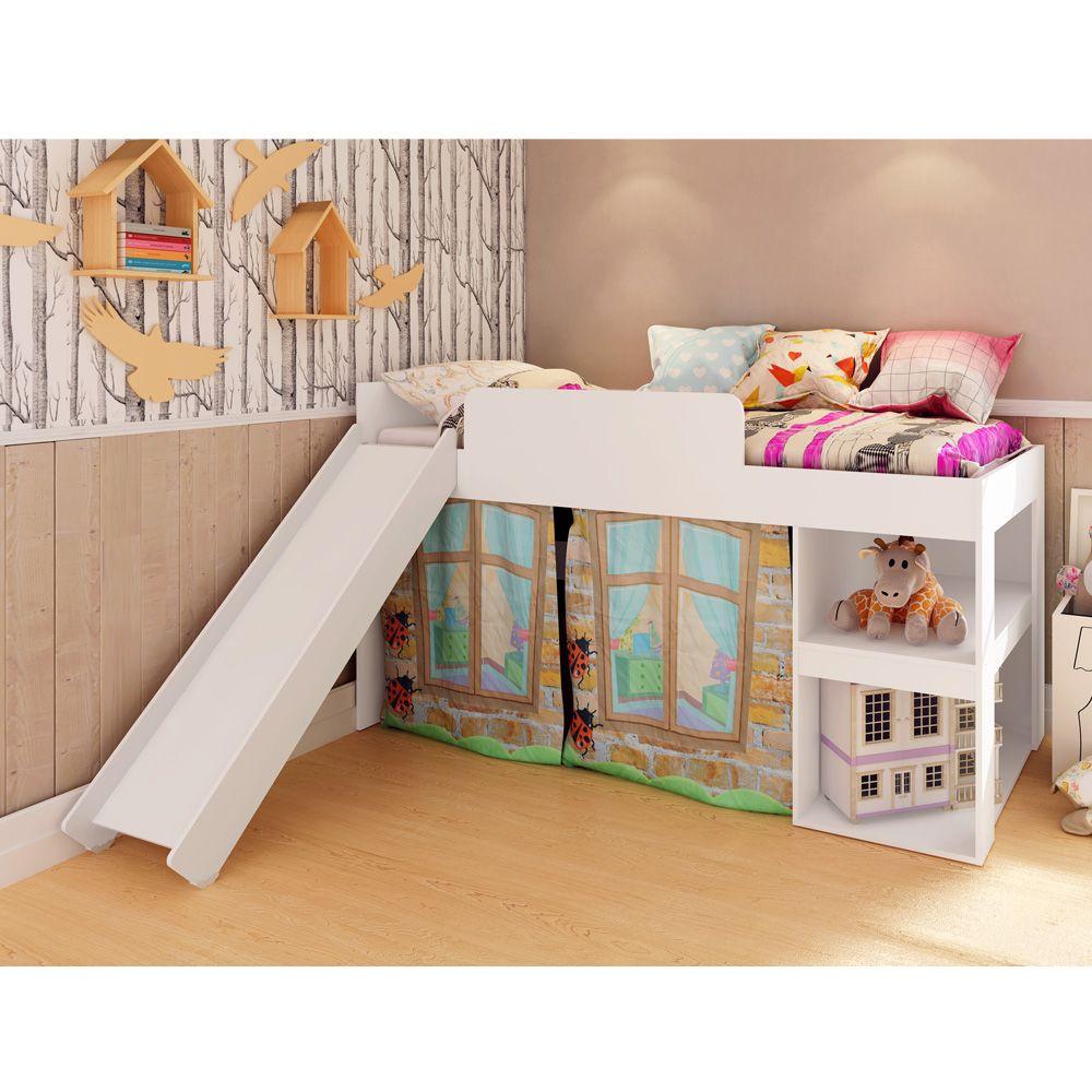 Cama Playground Infantil Meu Fofinho Com Escorregador Branco -  Art In Móveis