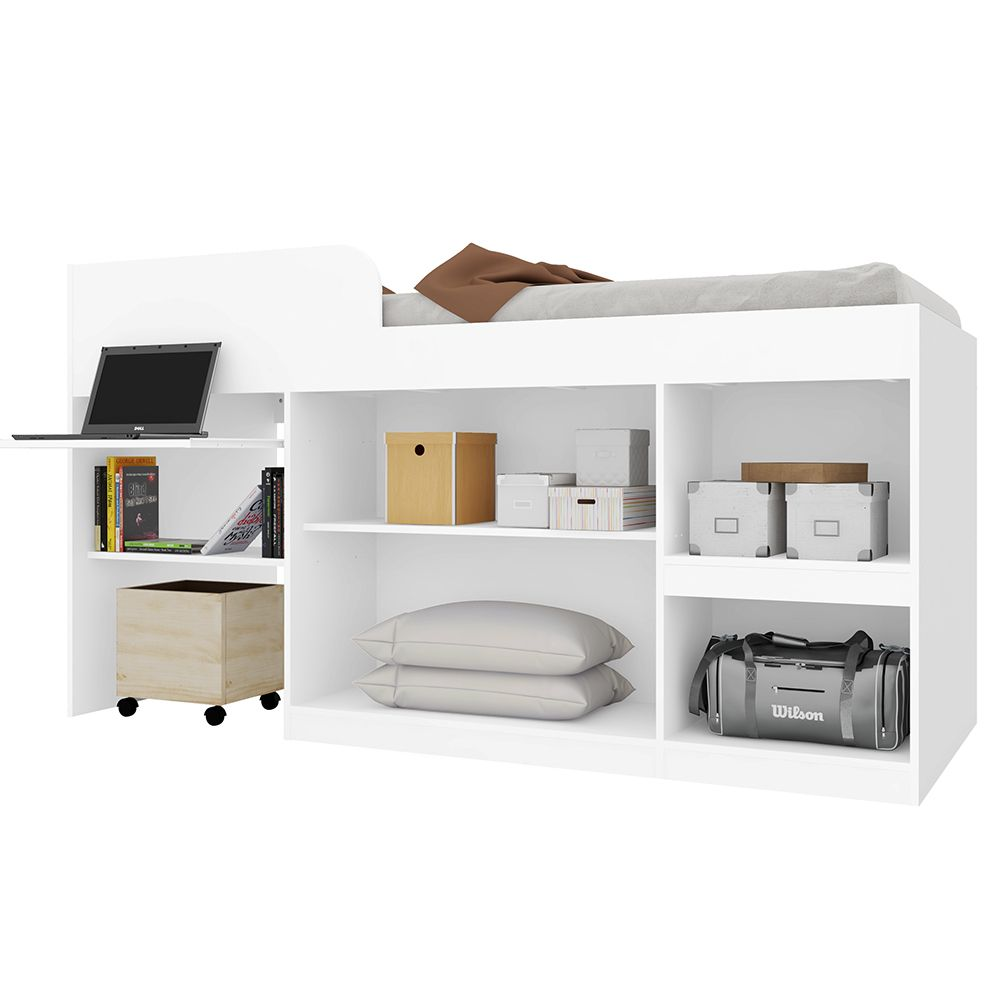 Cama Multifuncional Juvenille para colchão 188 x 78 cm Branco - Art In Móveis