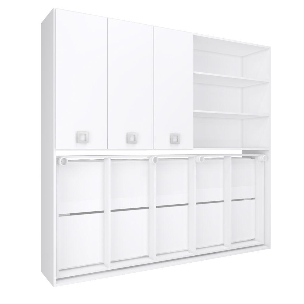 Cama Conjunto Sun Multifuncional Articulável 3 Portas CM2080 BR Branco - Art In Móveis
