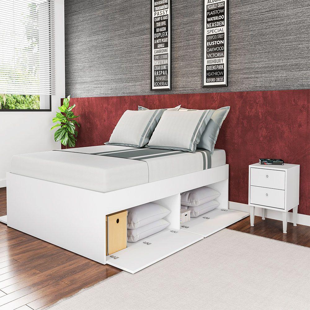 Cama de Casal 140 com 4 Portas Tókio  Branco - Art In Móveis
