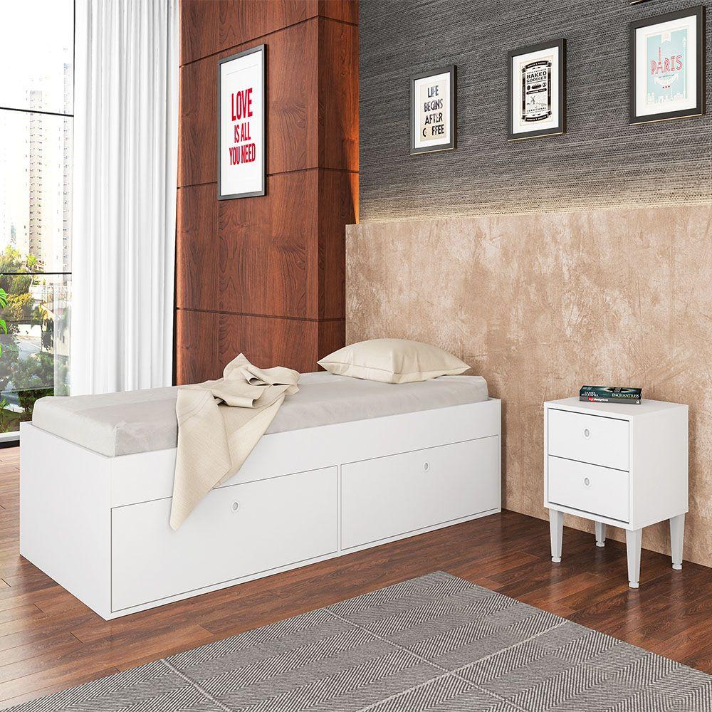 Cama de Solteiro 4 Portas Tókio Branco - Art In Móveis