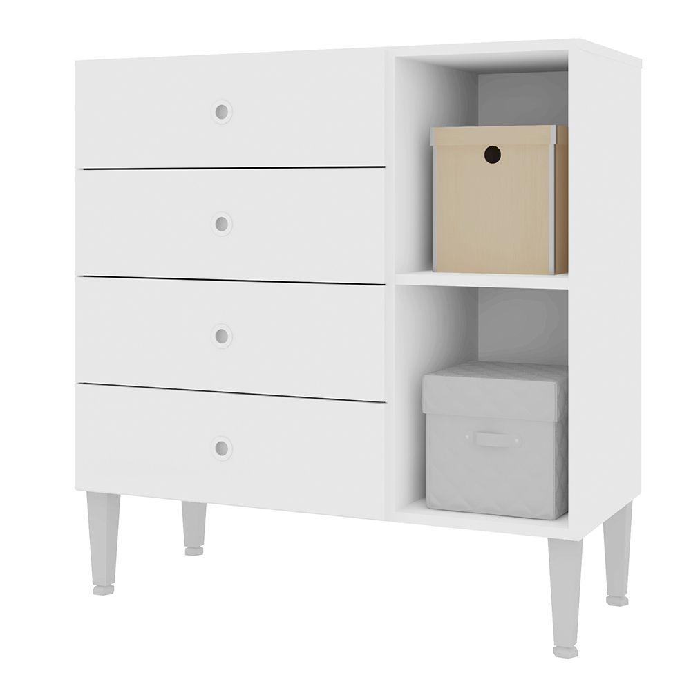 Cômoda Meu Fofinho 4 Gavetas Infantil com 1 Porta Branco - Art In Móveis