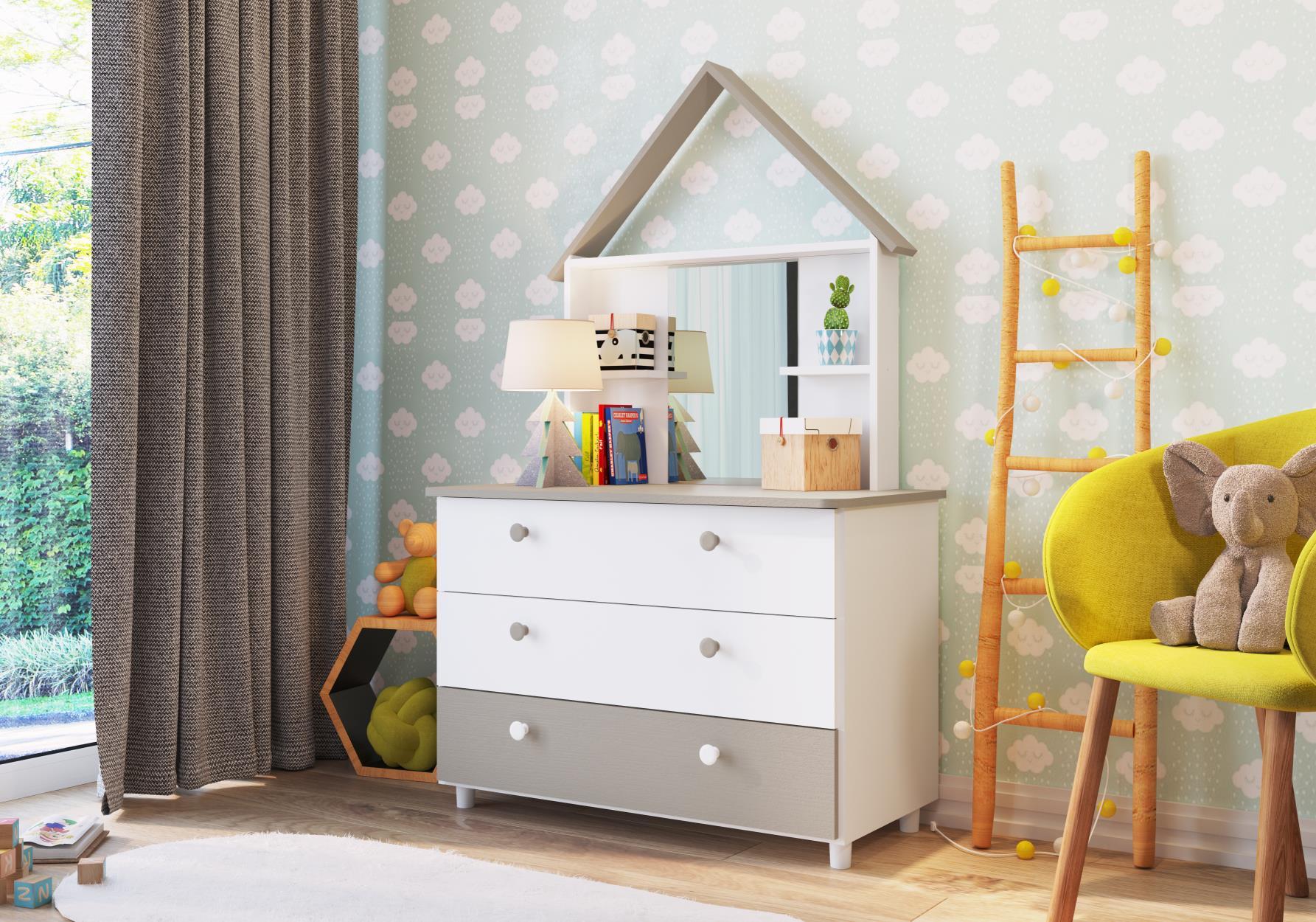 Cômoda com Espelho Children´s House Branco - Art in Móveis