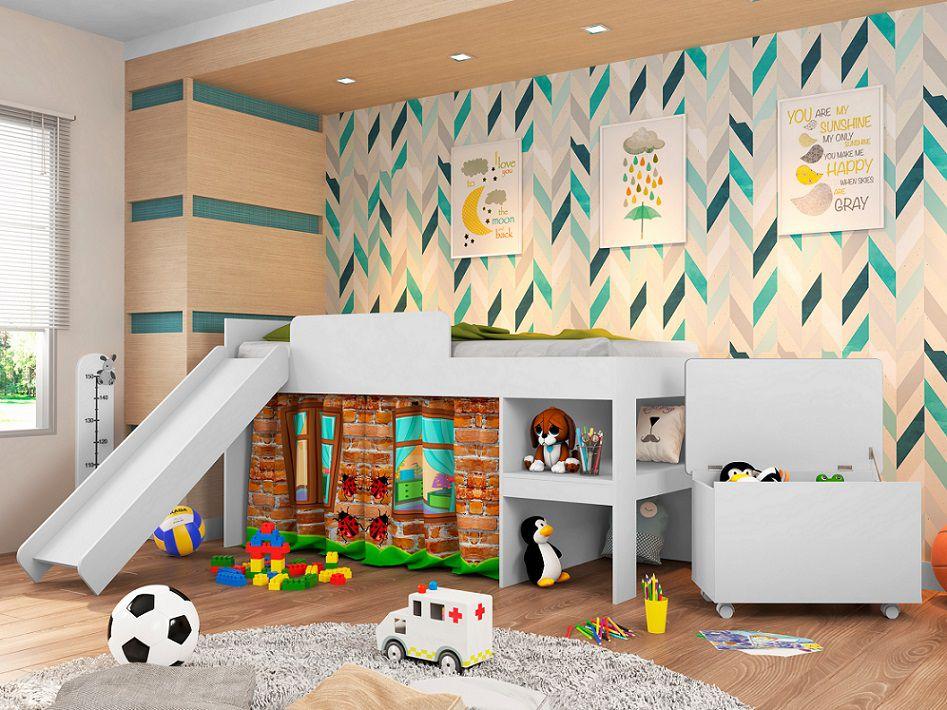 Conjunto Cama Playground 90 com escorregador e Baú Meu Fofinho branco