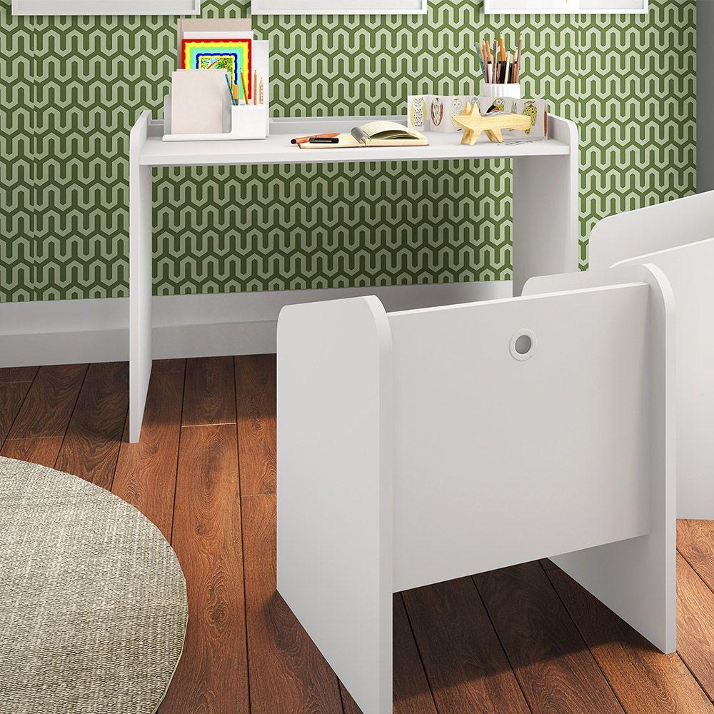 Conjunto de Mesa e Cadeiras Infantil Montessoriano Branco - Art In Móveis