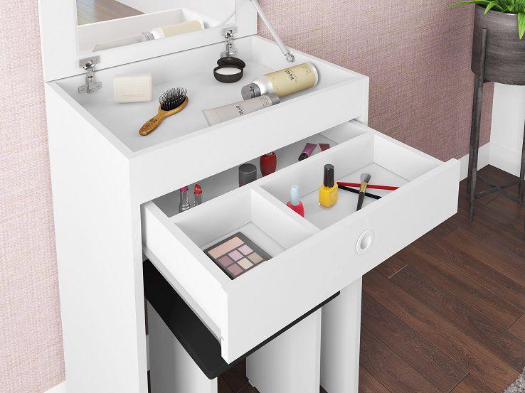 Conjunto Penteadeira Espelho Embutido Mimo e Banqueta Estofada Florença Branco - Art In Móveis