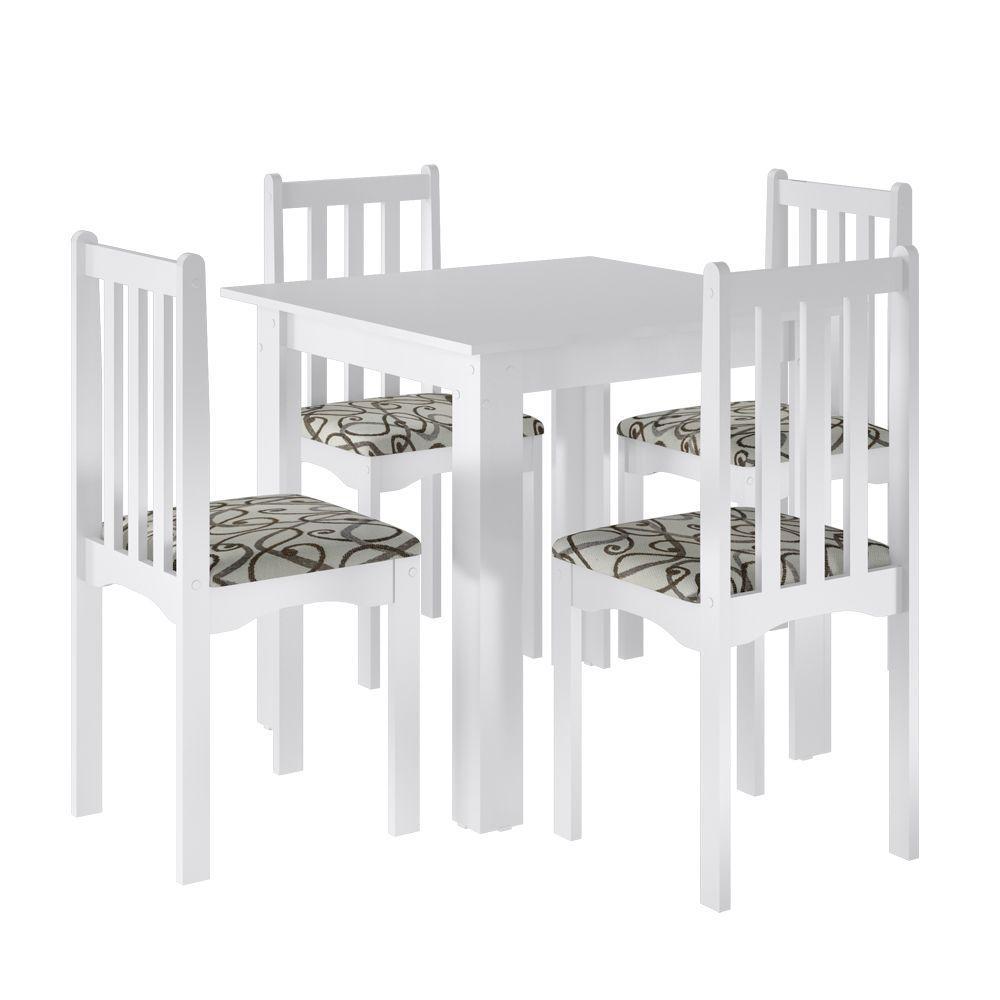 Conjunto Sala De Jantar Firenze Mesa Quadrada 77 x 81 cm com 4 Cadeiras Branco -  Art In Móveis