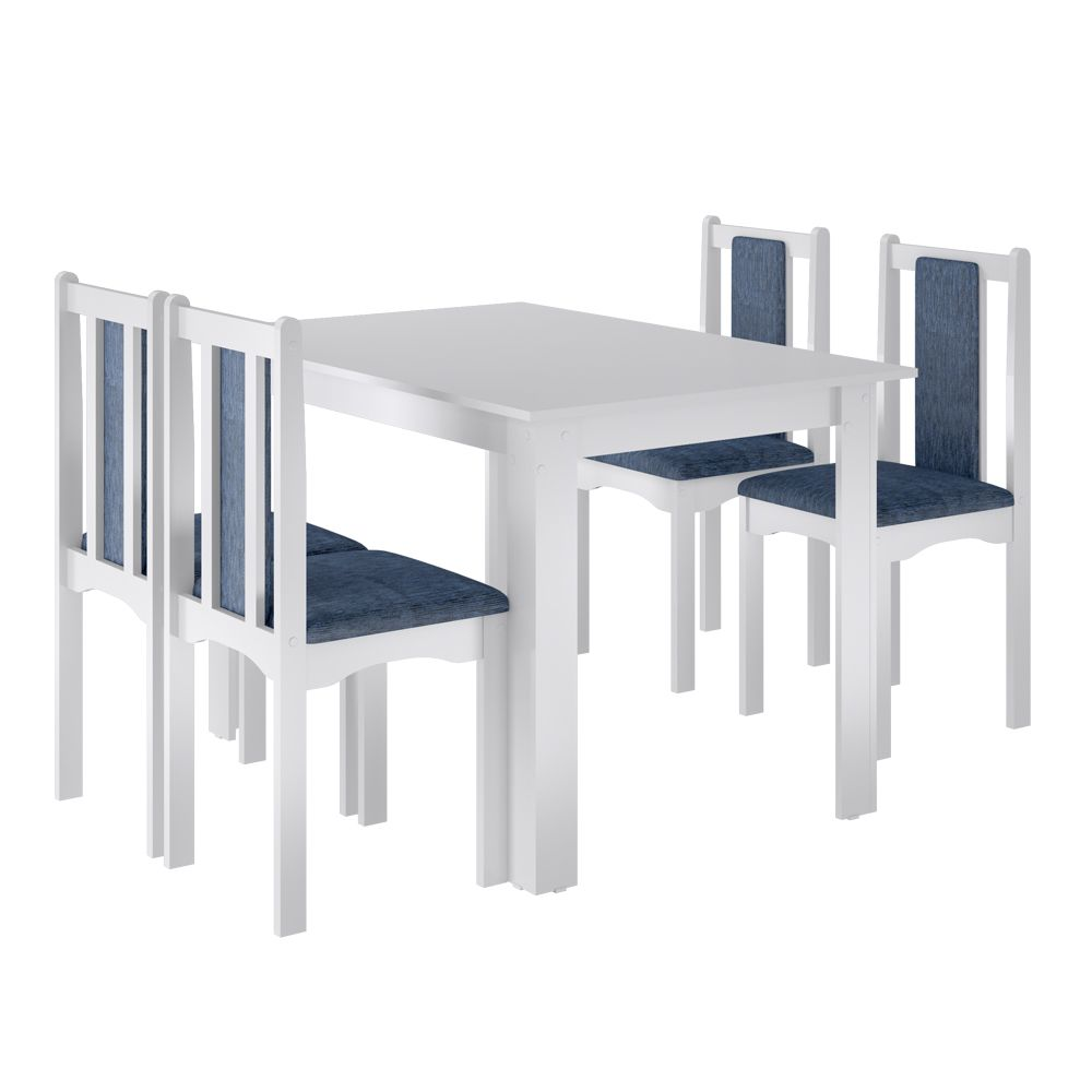 Conjunto Sala De Jantar Veneza Mesa 77 x 81 cm com 4 Cadeiras Branco - Art In Móveis