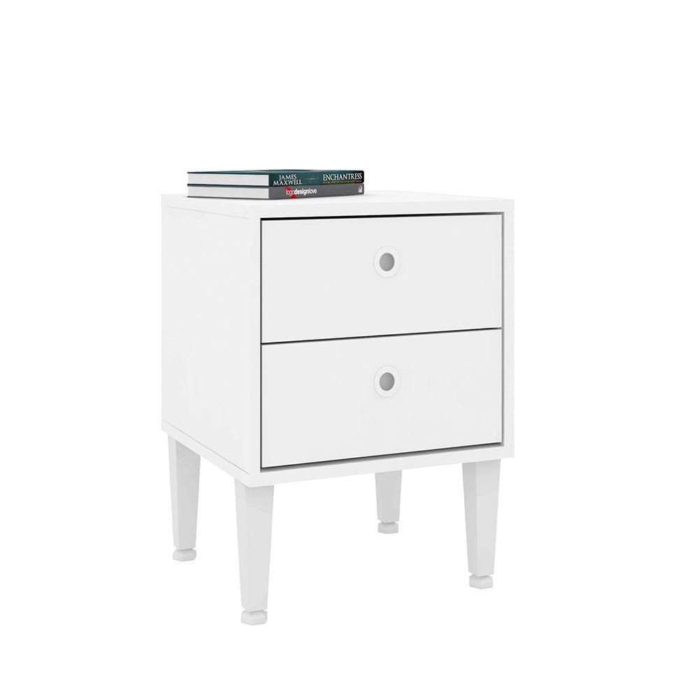 Criado Mudo Quarto Com 2 Gavetas  Branco - Art In Móveis