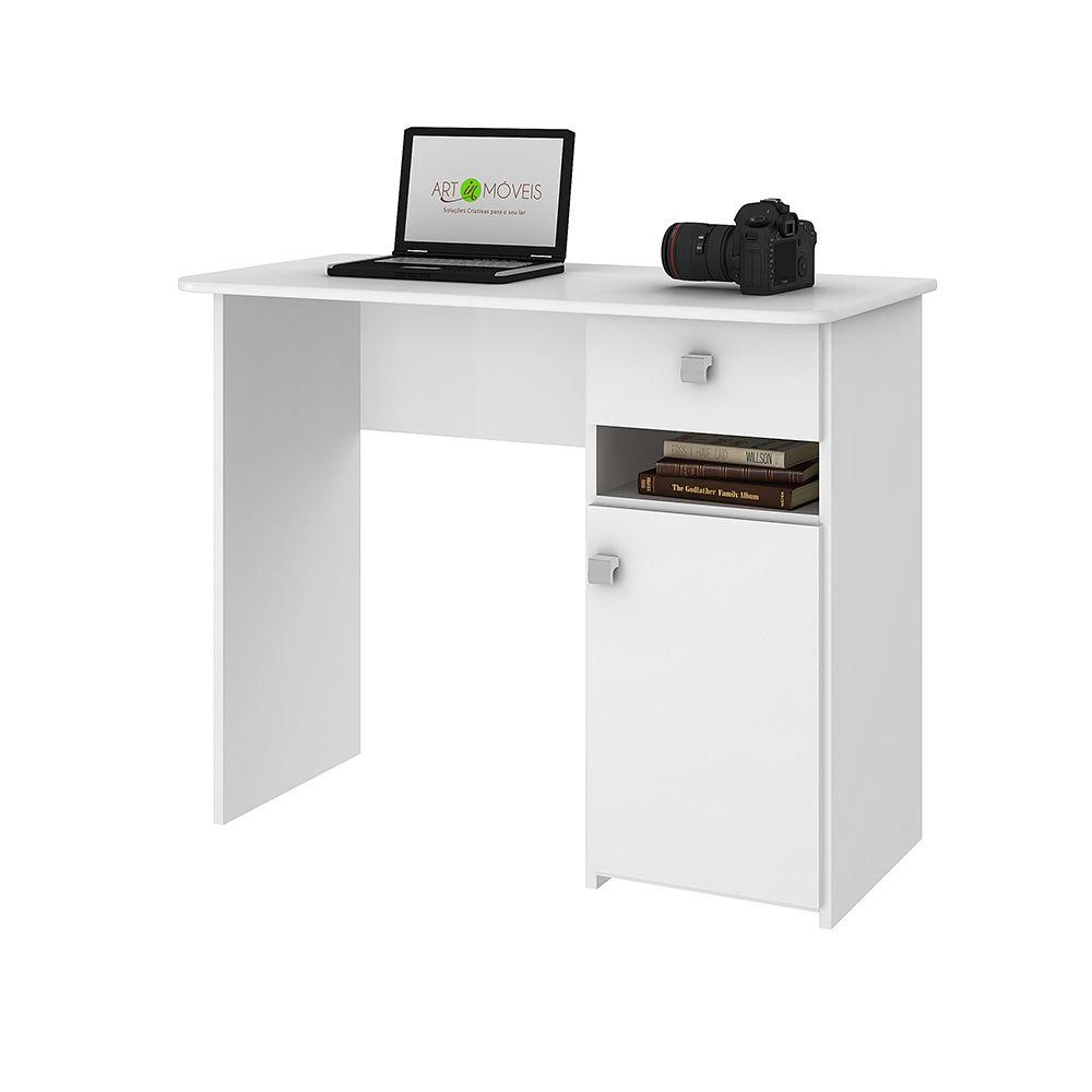 Mesa Notebook/Escrivaninha 01 Porta e 01 Gaveta Branco - Art In Móveis