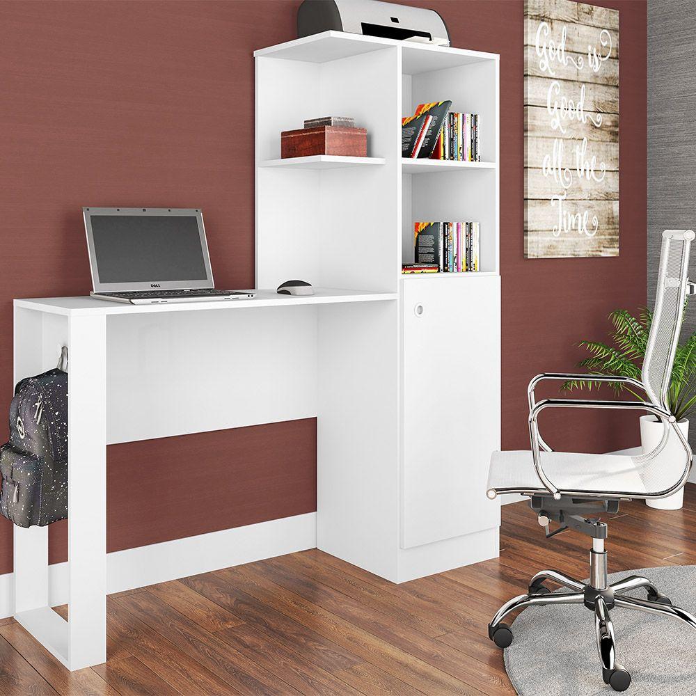 Mesa Notebook/Escrivaninha  01 Porta e Armário Califórnia Branco - Art In Móveis