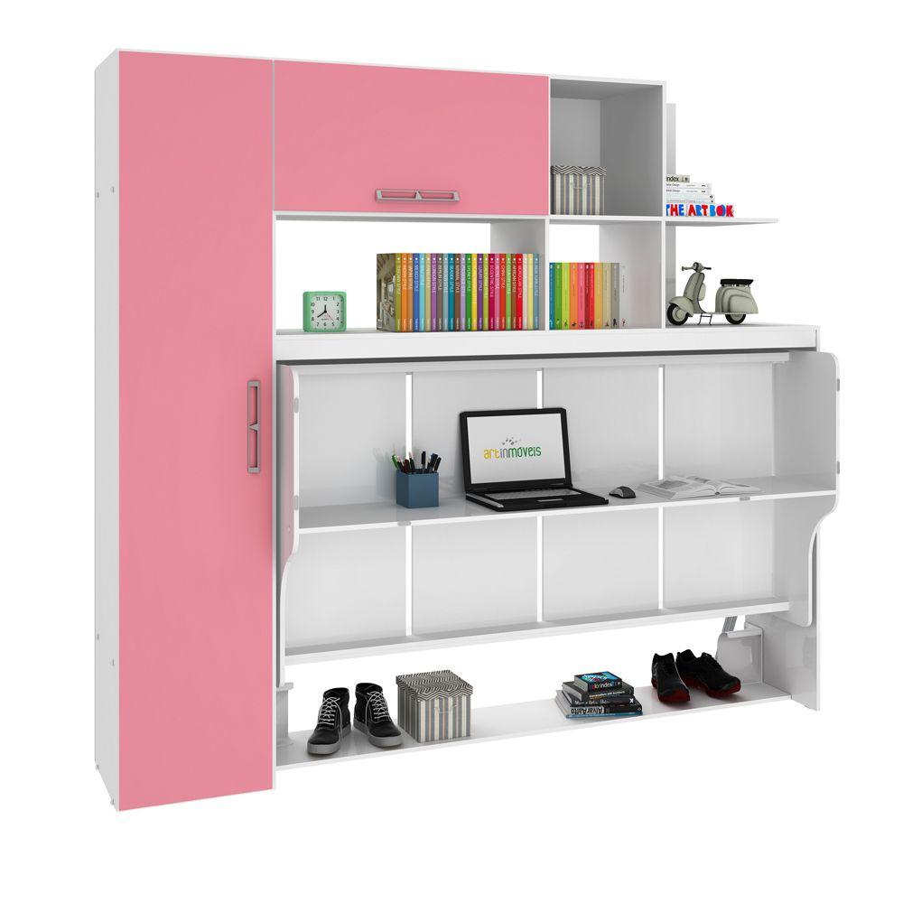 Estação de Dormir Escritório Cama Dreams de Solteiro Multifuncional e Retrátil com Armários Prateleiras Escrivaninha 4 Em 1 Rosa - Art In Móveis