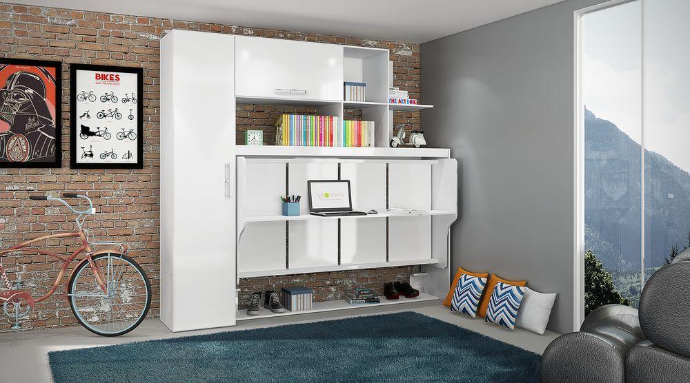Estação de Dormir Escritório Cama Dreams de Solteiro Multifuncional e Retrátil com Armários Prateleiras Escrivaninha 4 Em 1 Branco - Art In Móveis
