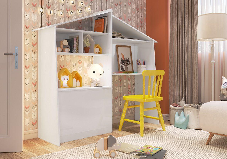 Estante Multiuso Infantil com Bau e Escrivaninha Carinho Branco - Art In Moveis