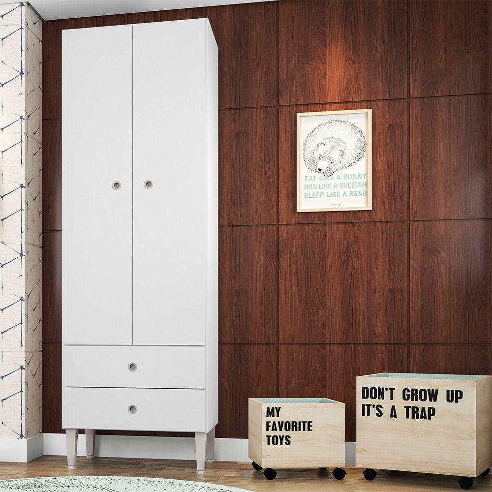 Guarda Roupas Meu Fofinho Infantil 2 Portas Branco - Art In Móveis