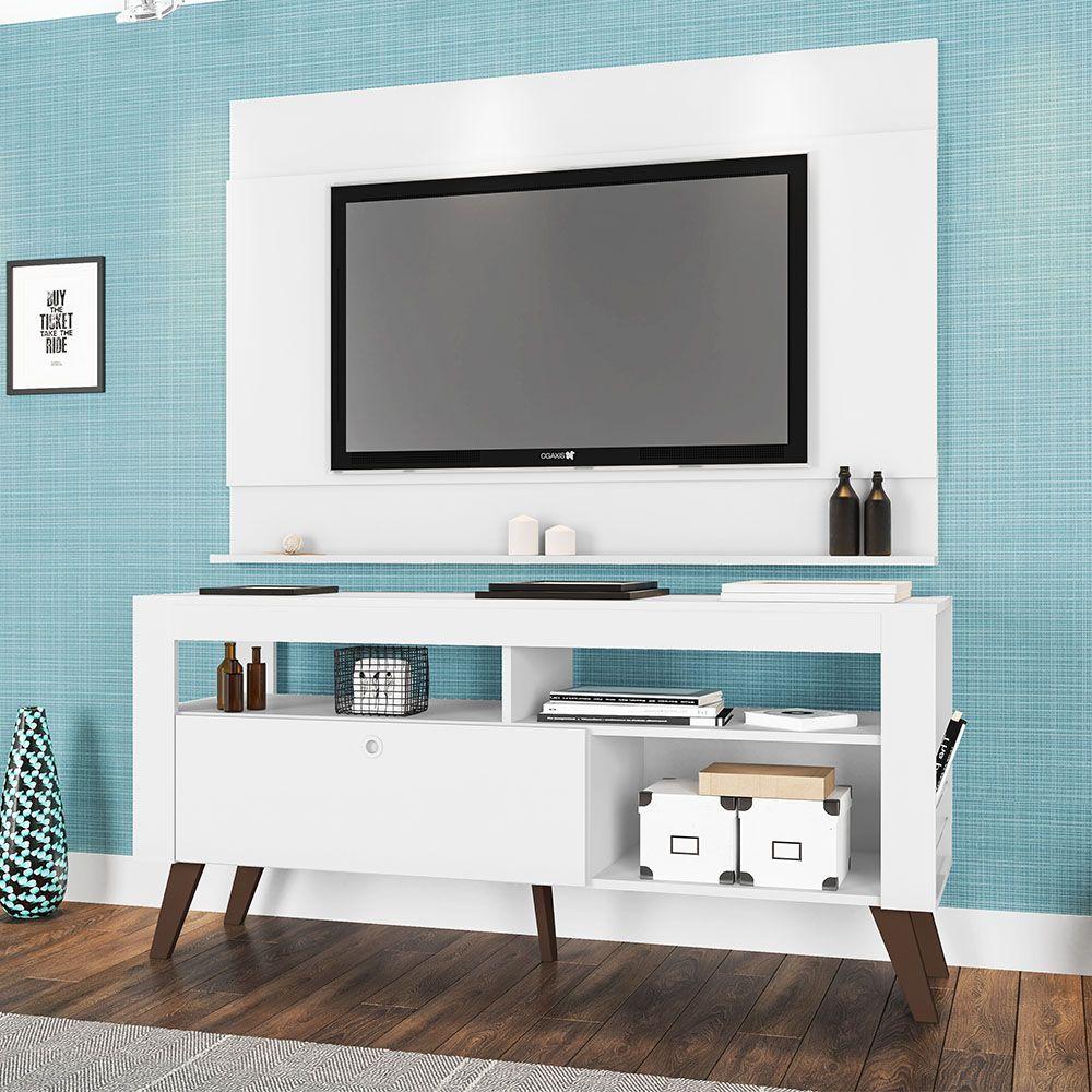 Home Rack Bancada e Painel Tv Até 55' Dinamarca Branco - Art In Moveis