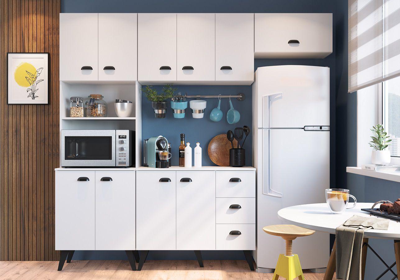 Kit Cozinha com 10 Portas 3 Gavetas Retro Mia Coccina Branco - Art In Moveis